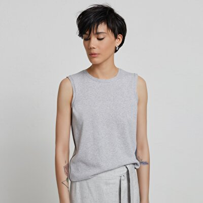 Stripe Detailed Sleeveless Knitwear