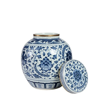 Dekoratif Obje - Blue Blanc Küp (19x23cm)