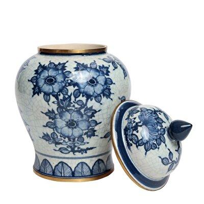 Dekoratif Obje - Blue Blanc Küp (19x30cm)