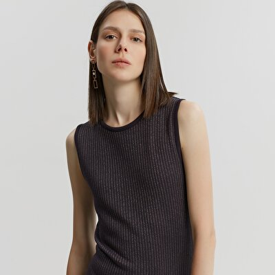 Sleeveless Shiny Knitwear Dress