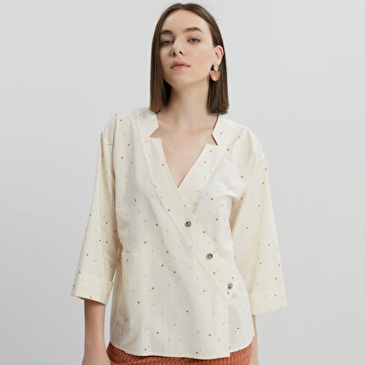 Double Breasted Button Detailed Shirt