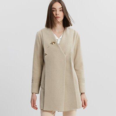 Damen Mantel kurz mit Plissee-Falten