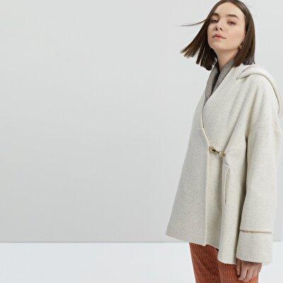 Kurzer Damen Mantel mit Kragen-Schlitzen