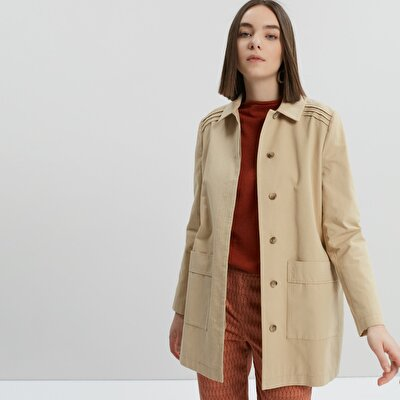 Shoulder Trimmed Trenchcoat