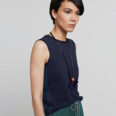 Stripe Detailed Sleeveless Knitwear