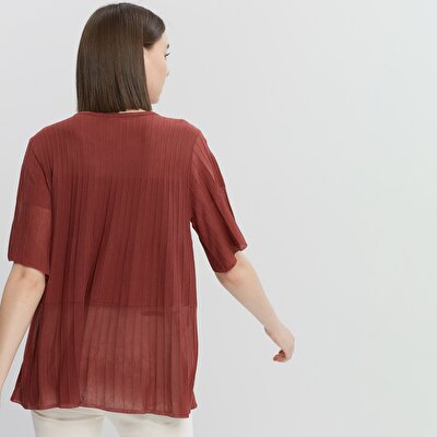 Pleat Detailed Short Sleeve Knitwear