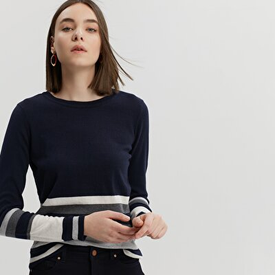 Crew Neck Striped Knitwear