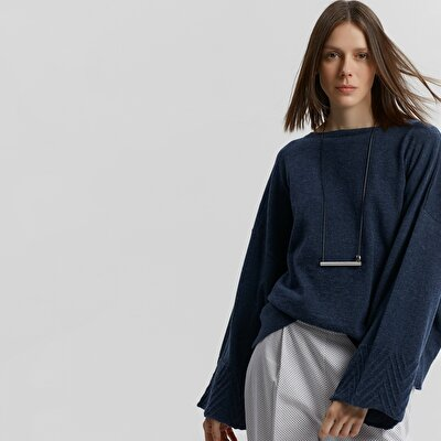 Sleeve Detailed Boat Neck Knitwear