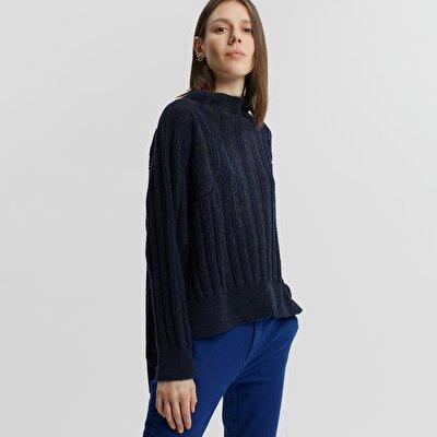 Damen Strickpullover mit Schlitz und hohem Kragen