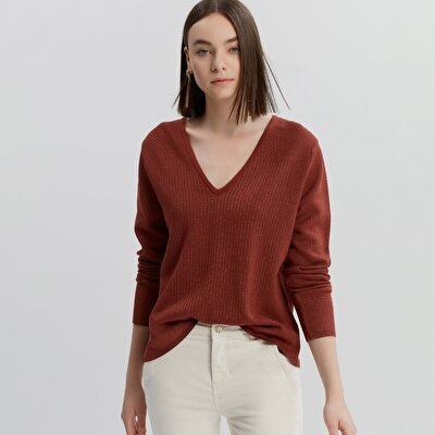 V Neck Shiny Patterned Knitwear