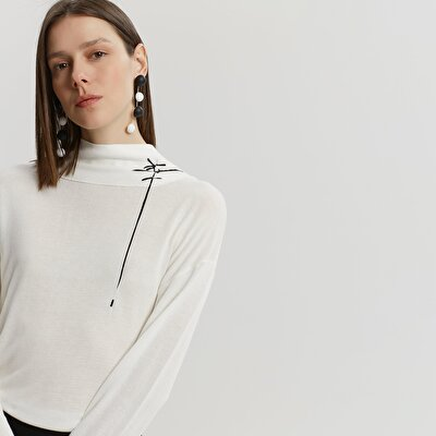 Patterned Collar Detailed Knitwear
