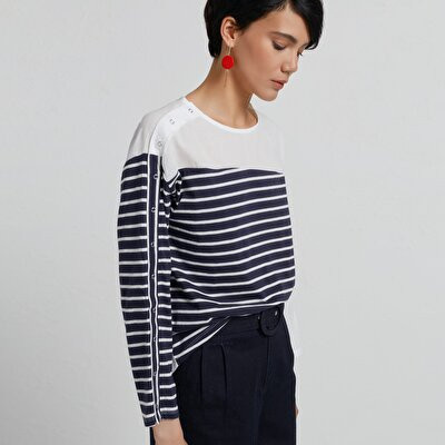 Stripe Detailed Long Sleeve T-Shirt