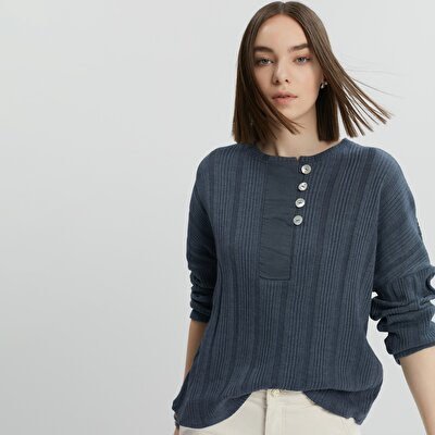 Placket Detailed Long Sleeve T-Shirt