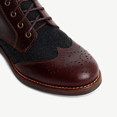 Fabric Detailed Leather Boot