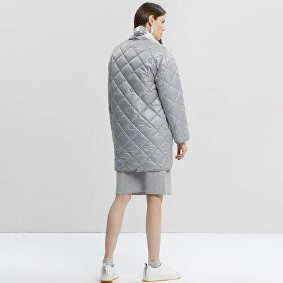 Damen Mantel mit Steppdetail aus Mikrofaser