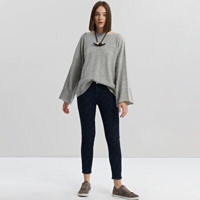 Printed Denim Trouser