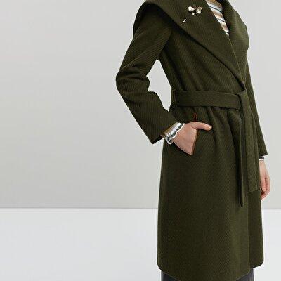 Mantel lang mit Kapuze