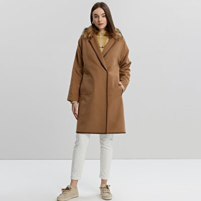 Fur Collar Leather Binding Detailed Coat