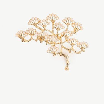 İncili Ağaç Desenli Broş
