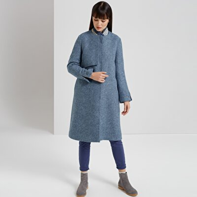 Collarless Long Coat