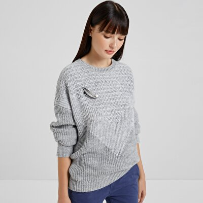 Crew Neck Block Pattern Detailed Knitwear
