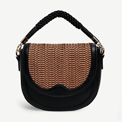 Two Strap Straw Detailed Shoulder Bag