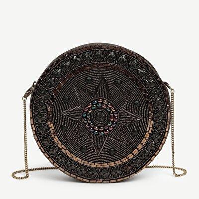 Beaded Shoulder Bag  With Chain Shoulder Strap
