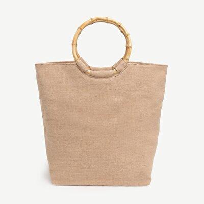 Grosse Handtasche Mit Holzdetails