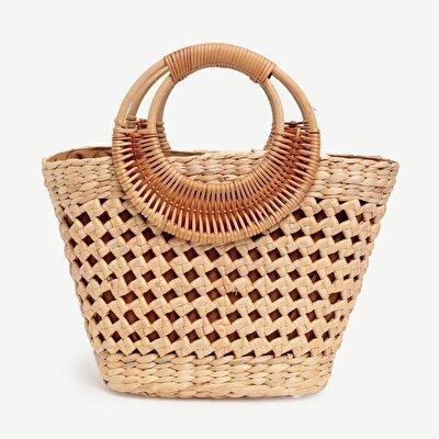 Handgeflochtene Strohhandtasche