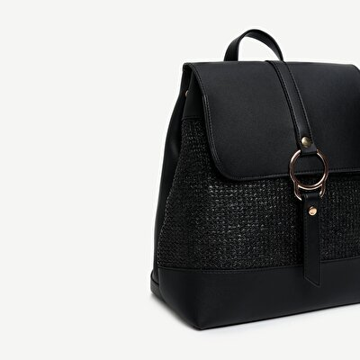 Straw Detailed Backpack