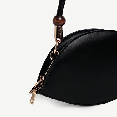 Handbag With Long And Bead Detailed Strap