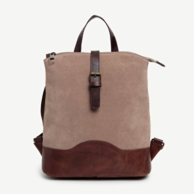 Two Tone Suede Leather Backpack