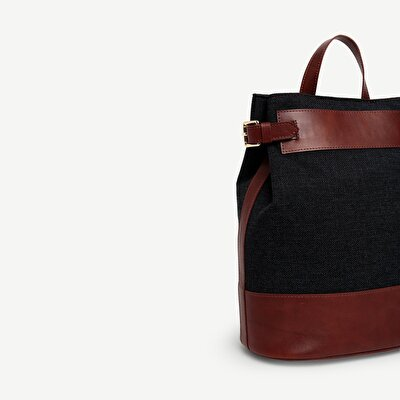 Fabric Backpack With Leather Detail