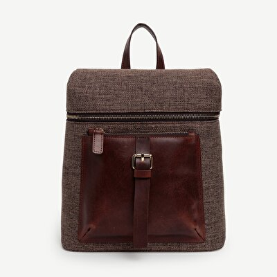 Fabric Backpack With Leather Pocket Detail