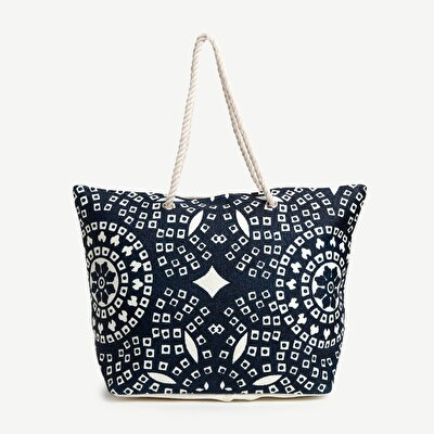 Print Detailed Large Beach Tote Bag
