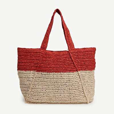 Two Tone Paper Straw Tote Bag