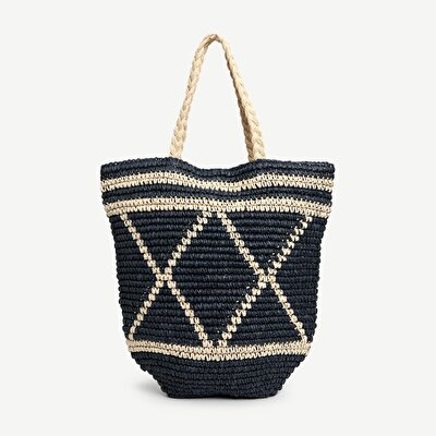 Paper Straw Large Tote Bag With Pattern