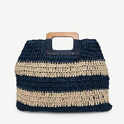 Striped Paper Straw Handbag With Wood Handle