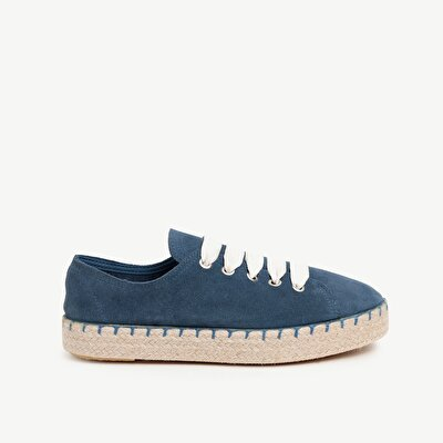 Suede Leather Sneaker With Jute Woven Outsole