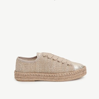 Straw Blended Fabric Jute Woven Outsole  Sneaker With Leather Toe Detail