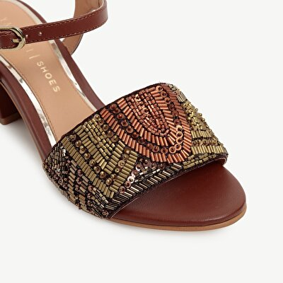 Beaded High Heel Sandal