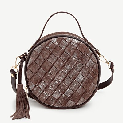 Crossbody Woven Suede Shoulder Bag With Shinny Finish