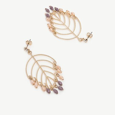 Earrings İn Leaf Shape With Small Beads
