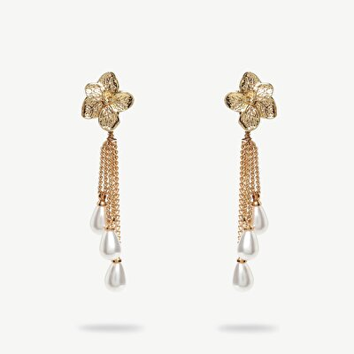 Earrings With Real Pearls İn Flower Shape