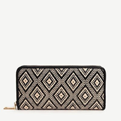 Three Part ZiP- Around Pattern Straw Wallet