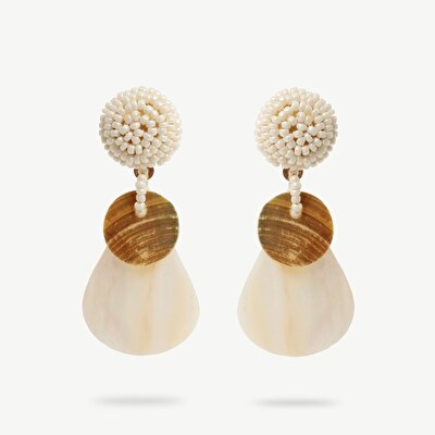 Earrings With Shell And Wood