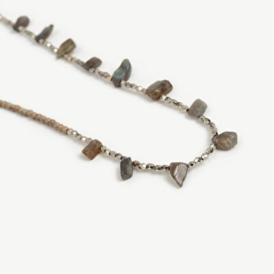 Necklace With Labrodotite And Tiger Eye Stone