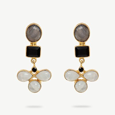 14k Gold Plated Earrings İn Flower Shape With Laborite, Black Onyx, Rainbow Moon Stones