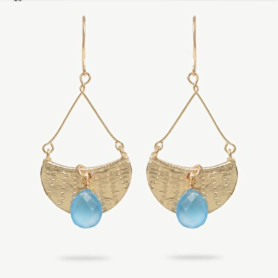 14k Gold Plated Crescent Earring With Chalcdony Stone