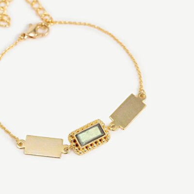 14k Gold Plated Bracelet With Labrodorite Stone